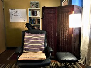 View of the therapist's chair from the couch.